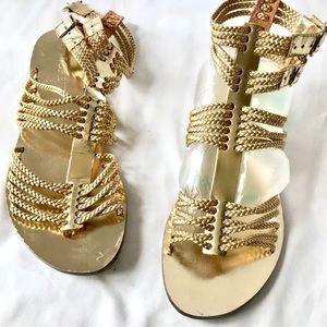 Gold J Crew Gladiator Sandals